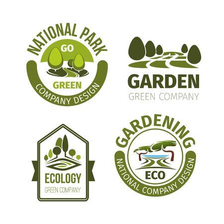 urban gardening: Green park or garden design vector icons