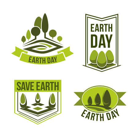global environment: Earth Day icons for green ecology and clean environment or earth nature conservation concept. Vector isolated set of trees and plants for 22 April global pollution protection Earth Day design Illustration