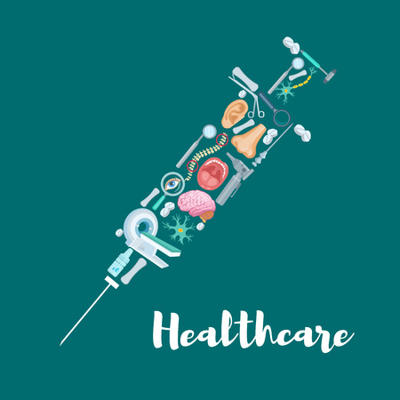 Syringe symbol created of medical and healthcare icons. Pills, medical tools to check ear, eye and mouth, dentist mirror, brain, spine bones and MRI scanner. Medicine, hospital, clinic design