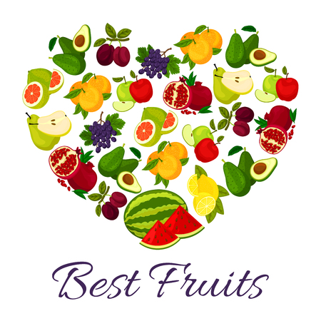 Fruits combined in heart. Farm harvest of fresh ripe juicy orange, avocado, pomegranate and grape bunch, sliced watermelon, plum and citrus lemon, pomelo, apple, grape and pear. Vector fruit poster
