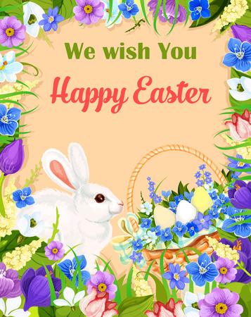 Gelukkige vector de groetkaart van Pasen. Mand met paaseieren, bloemen en konijntje. Vector bloemenboeketframe van krokussen, narcissengele narcissenlelie en tulpen. Ontwerp voor Pasen religie vakantie wensen