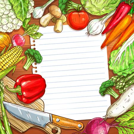 Vegetables and blank paper on wooden background Illustration