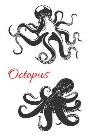 Octopus marine animal icon set for tattoo design