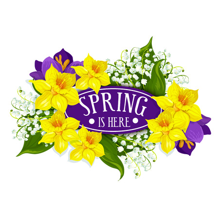 Spring is here floral design of yellow daffodils or narcissus wreath bow. Vector flowers bunch of lily valley and forget-me-nots or crocuses for springtime holiday design or greeting card element