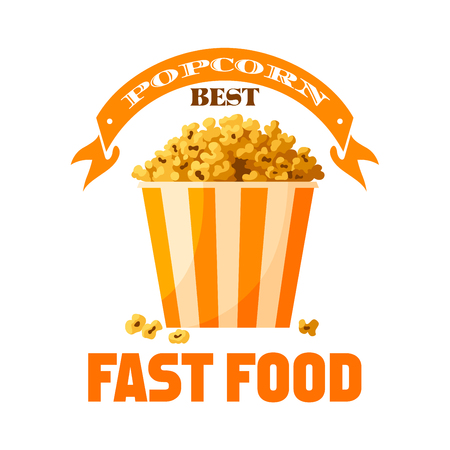 Popcorn fast food snack vector isolated icon Illustration