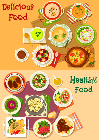 fruit and veg: Soup, salad and meat dishes icon set design