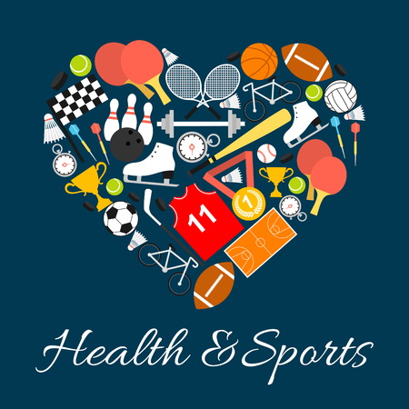 forme et sante: Health and sports in heart shape with vector pattern elements of sport life style. Training and sport game equipment balls, rackets, footbal, ski, skate, cup, baseball. I love sport life concept label Illustration