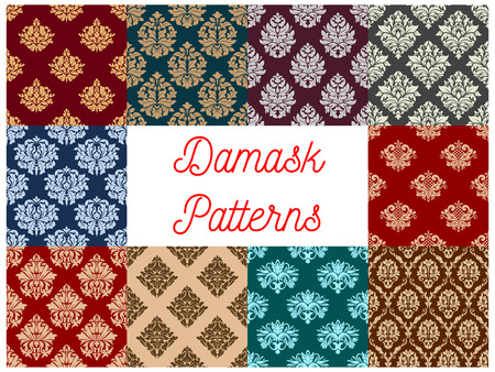 Floral damask pattern and flourish tracery seamless set of vector flowery fabric adornment of luxury ornamental and antique flowers. Vintage baroque motif design for interior decor ornaments and tiles Ilustração