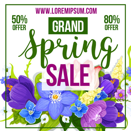 discount store: Spring Sale poster template for shop or store percent discount promo. Vector design of of springtime flowers crocuses, daffodils and lily floral bouquets for spring holiday shopping offer or flyer