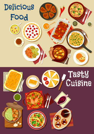 Mediterranean and asian cuisine icon. Meat and vegetable stew, greek and spanish pie, chinese beef noodle, chicken rice, chocolate cake, berry tart, fruit sauce, fried potato and pumpkin with honey