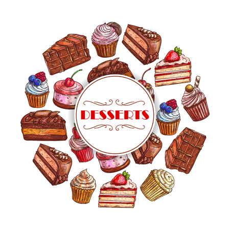 Cakes and cupcakes desserts vector poster of pies, chocolate and fruit tarts, muffins and biscuits or cookies, donuts and pudding. Design bakery shop, pastry and patisserie or confectionery menu