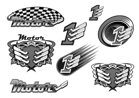 Carreras de coches o carreras de motor de carreras vectoriales iconos de motor y checkered rally bandera y número uno campeón ganador o torneo símbolo de la victoria. Aislado emblemas ornamentales de turbo tubo de escape y el fuego