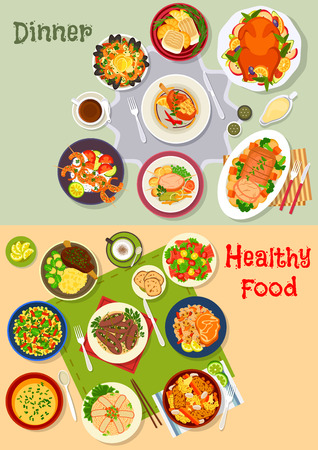 grilled vegetables: Healthy festive dinner icon set with baked duck and pork, bacon tomato salad, chicken, turkey and lamb with vegetables, seafood paella, grilled shrimp and fish, lentil soup and salad, pickled eggplant