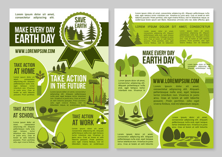 global environment: Save Planet design for Earth Day announcement to take action for global green environment and nature pollution protection. Vector design for trees planting and ecology conservation on earth Illustration