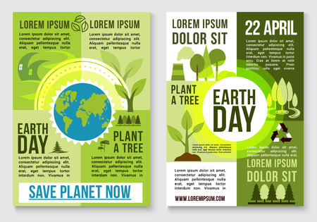 waste prevention: Save Earth and plant trees design for 22 April Earth Day event. Nature environment conservation, deforestation protection and factory waste emission or pollution prevention concept. Vector design