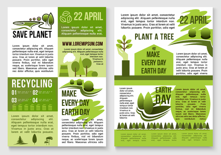 global environment: Save Earth posters design on recycling and environment conservation concept for Earth Day global event. Vector information on carbon emission, chemical pollution and forest trees deforestation Illustration