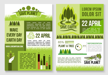 global environment: Save Earth and planet nature concept design for deforestation and green environment conservation. Vector statistics data on trees and forest planting for 22 April Earth Day global event Illustration