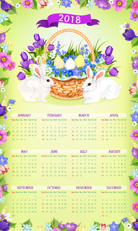 Easter paschal vector calendar 2018 template desgn Illustration