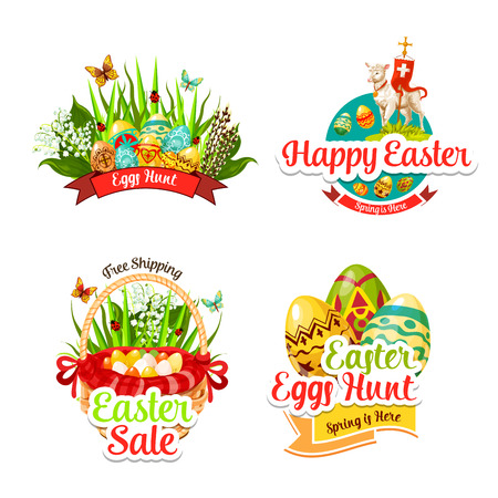 Vector icons and paschal stickers for Easter sale Illustration