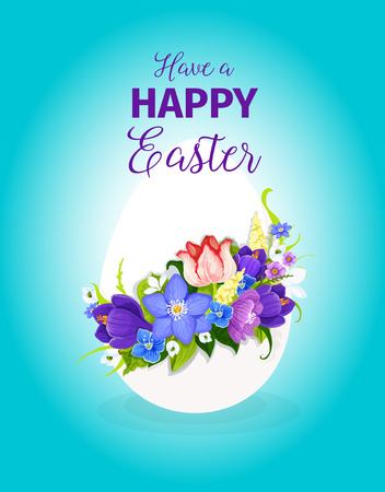 Easter spring flowers paschal egg vector greeting