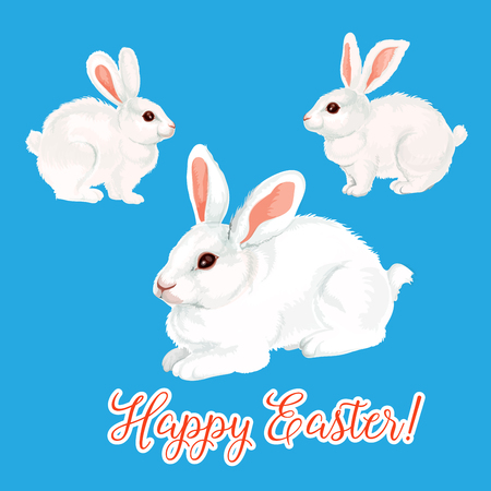 Vector icon of paschal bunny hare or Easter rabbit