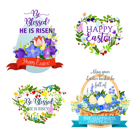 Vector Easter icons and paschal symbols Ilustrace