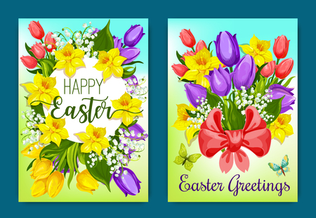 Easter flowers greeting card with floral wreath Illustration