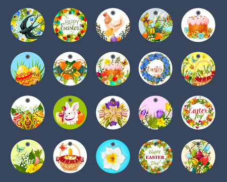 label tag: Easter tag set with cartoon round label Illustration