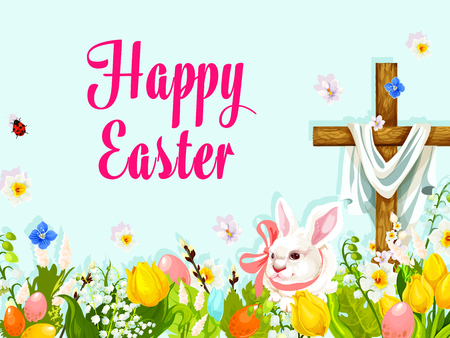 christianity: Easter egg hunt rabbit with cross greeting poster Illustration