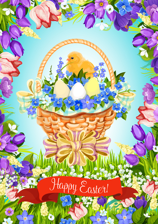 passover and easter chick: Easter paschal eggs basket vector greeting card Illustration
