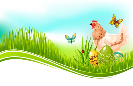 passover and easter chick: Easter vector template of paschal eggs and chicken