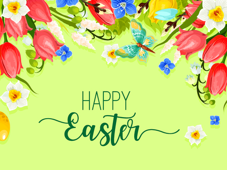 pascuas navideÑas: Easter happy holiday greeting card vector flowers
