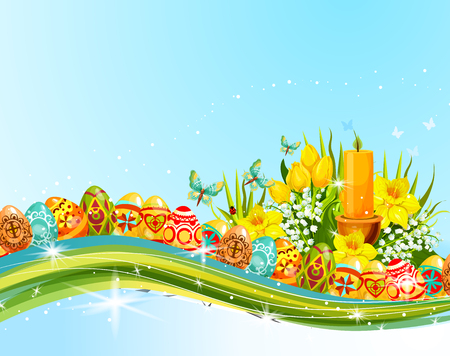 pascuas navideÑas: Easter egg and flower banner for holiday design Vectores