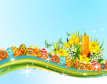 Easter egg and flower banner for holiday design Illustration