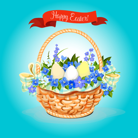 Easter eggs and flowers bunch basket vector poster