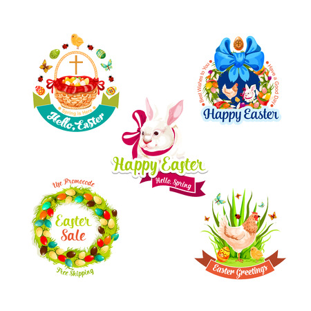 pascuas navideÑas: Easter holiday label set for sale tag design
