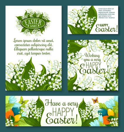 Carte de voeux florale de Pâques et modèle de bannière