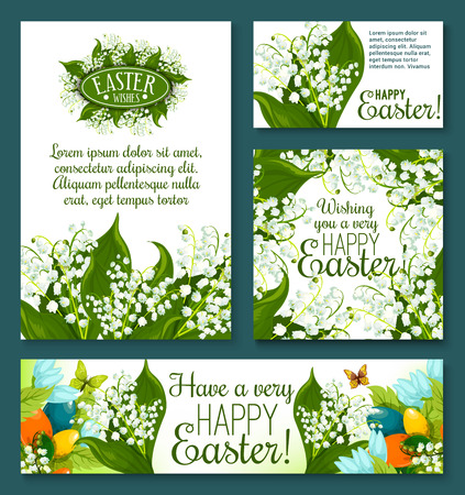 Easter floral greeting card and banner template