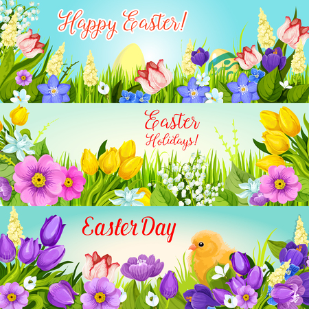 Easter banners paschal egg, flowers vector set