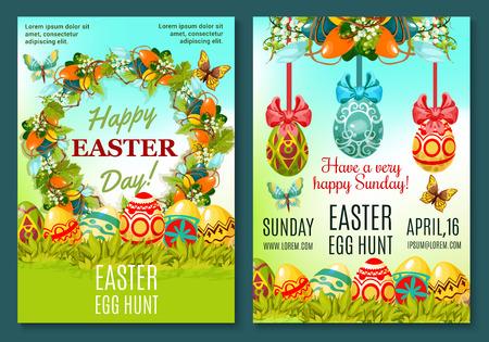 Easter Egg Hunt celebration poster template set Illustration