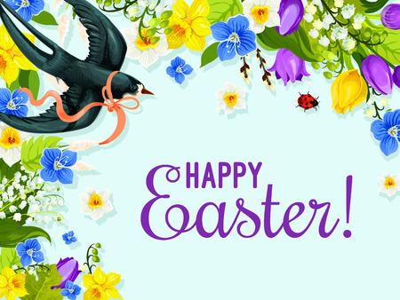 Easter spring flower and bird greeting card design Illustration