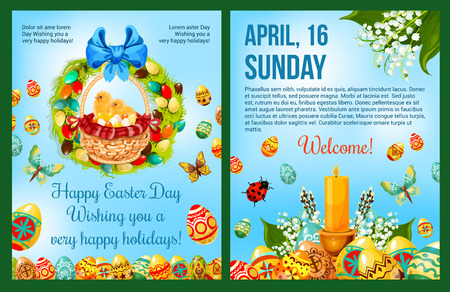 celebration: Easter Day celebration cartoon poster template