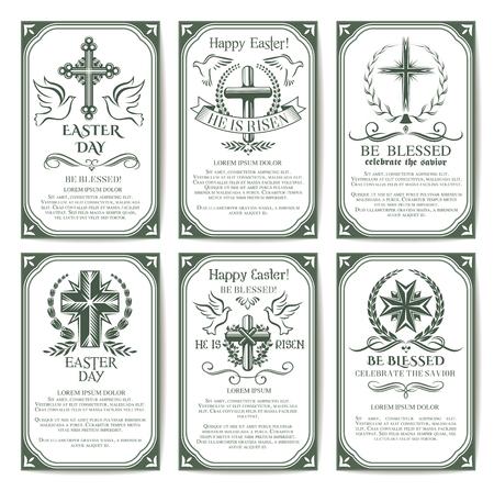 cristianismo: Cruz de Pascua cartel religioso y conjunto de banner Vectores