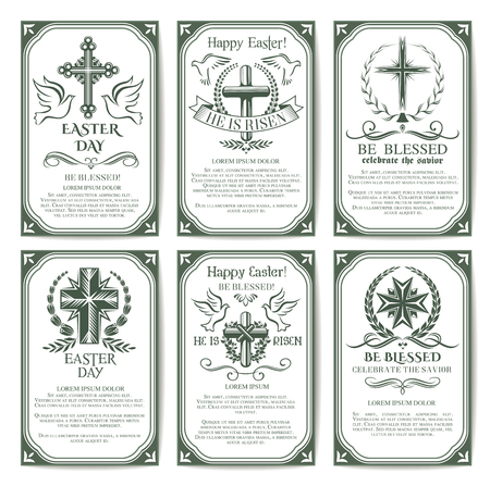 christianity: Easter cross religious poster and banner set Illustration
