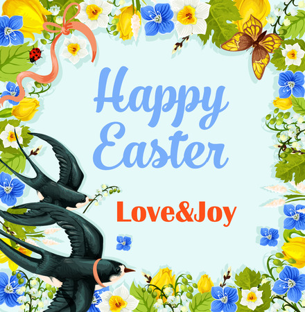 Easter flower wreath vector poster with swallows