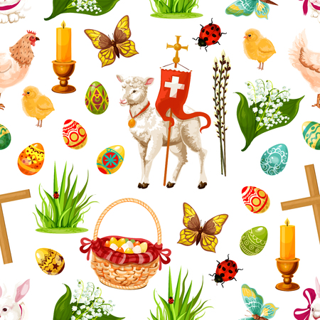 passover and easter chick: Vector Easter seamless pattern paschal symbols Illustration