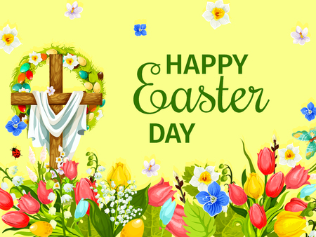 Easter Day greeting card with cross, egg, flower Illustration