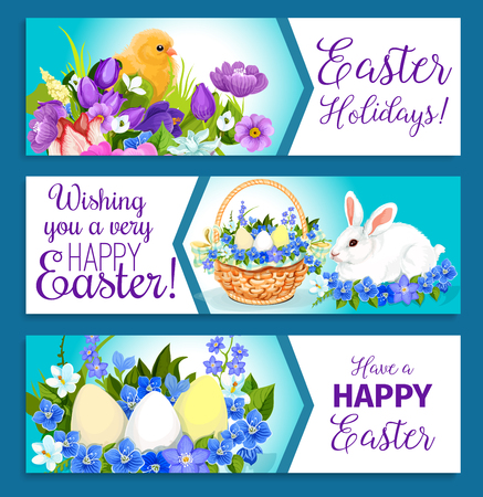 passover and easter chick: Vector Easter banners of pashcal greetings
