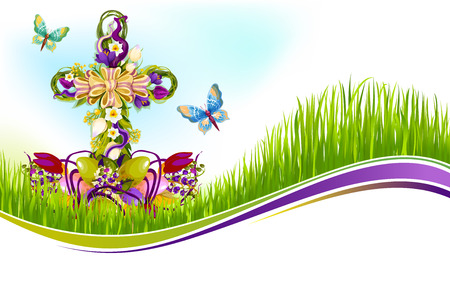 Vector Easter crucifix of flowers greetting card Ilustração