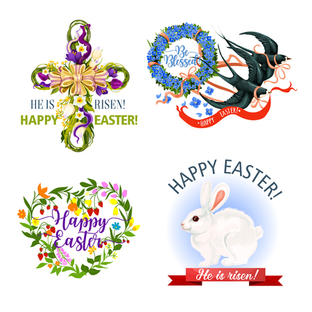 Paschal Easter holiday vector icons and symbols Illustration